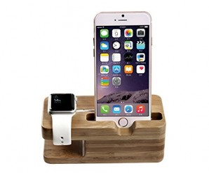 eTopxizu Bamboo Wood Apple Watch Stand, iPhone 5s 6plus Charging Station and Dock Multi Device Cord Organizer Stand and Charging Station with Built-In Insert Slots