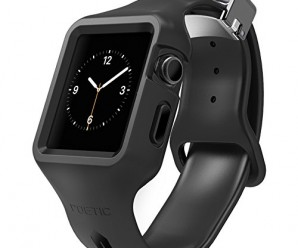 Apple Watch all in one Case/Band, Poetic [SPORT BAND] Apple Watch 42mm Case+band Shock Protection **NEW** [SPORT-FIT] [Jet Black] – [Includes 2 Screen Protectors] Ultimate protection from drops and impact with a stylish sport design and magnetic clasp for Apple Watch 42mm (2015) – Jet Black