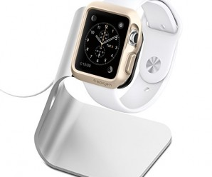 Apple Watch Stand, Spigen® [Charging Dock] Apple Watch Charging Stand **NEW** [Apple Watch Stand] [S330] Aluminum build cradle holds Apple Watch – [Charging Cable & Watch Case & Watch NOT INCLUDED] Comfortable viewing angle easy use quick connection for Apple Watch (2015) – S330 (SGP11555)