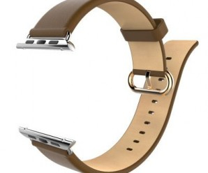 Apple Watch Band, Bein Premium Genuine Leather Replacement Strap Wrist Band Straps for Apple Watch 42mm W Metal Clasp, Classic Buckle & Modern Buckle (Leather – Brown)