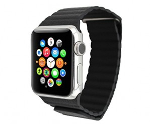 Apple Watch Band Replacement; Wearlizer Genuine Leather Loop with Magnetic Closure for the 2015 Release of the New Apple Watch Color Black 42mm