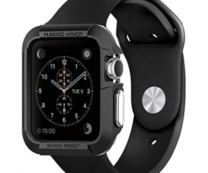 Apple Watch Case, Spigen® [Resilient] Apple Watch 42mm Case Impact Protection **NEW** [Rugged Armor] [Black] – [Include 2 Screen Protectors] Ultimate protection from drops and impacts for Apple Watch 42mm (2015) – Black (SGP11496)