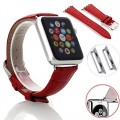 Apple Watch Band, oneCaseTM 38mm Genuine Leather Strap Wrist Band Replacement Watch Band with Metal Clasp for Apple Watch Sport Edition 38mm (38mm-Red)