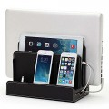 Great Useful Stuff Black Leatherette Multi-Device Charging Station and Dock – Charges all your devices in one place – Universally Compatible