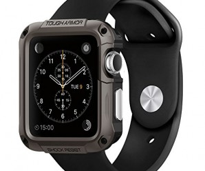 Apple Watch Case, Spigen® [Built-In Screen Protector] Apple Watch 42mm Case Protective **NEW** [Tough Armor] [Gunmetal] EXTREME Protection / Front Built-In Screen Protector Cover / Rugged but Slim Dual Layer Protective Cover for Apple Watch 42mm (2015) – Gunmetal (SGP11504)