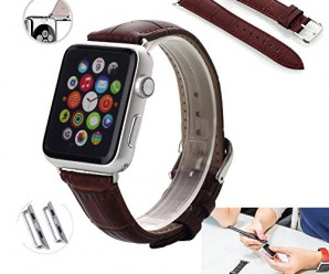 Apple Watch Band with Metal Clasp, PandawellTM 38mm Genuine Leather Replacement Watchband Strap Wrist Band for Apple Watch & Sport & Edition [Compare to Classic Buckle & Modern Buckle] Directly Use for any Version Apple Watch, No need a Screw Driver to Install It (38mm-Brown)