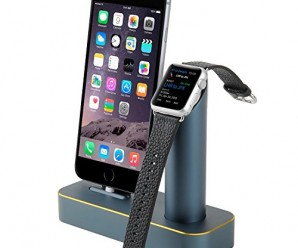 Premium [2 in 1] Apple Watch Stand & iPhone Stand, [Charging Dock] Solid Aluminum Body Desk Charging Station, Apple Watch Charging Stand Cradle Holder for Apple iWatch 38mm/42mm, Comfortable Viewing Angle Charging Stand for iPhone 5, 5s, 6, iPhone 6 Plus (MM601) (Navy Blue)