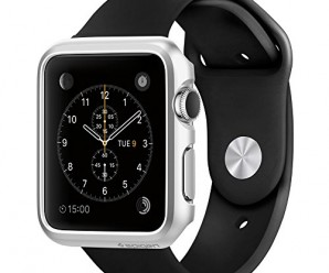 Apple Watch Case, Spigen® [Exact-Fit] Apple Watch 42mm Case Slim **NEW** [Thin Fit] [Satin Silver] Premium Matte Finish Hard Case for Apple Watch 42mm (2015) – Satin Silver (SGP11500)