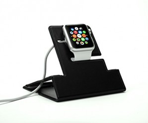 Apple Watch Stand, Jelly Comb [Traveller Series] Wallet-Size Ultra Slim & Lightweight Portable Leather Charging Stand for All Versions of Apple Watch, Black