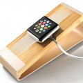 Apple Watch Stand, I-stasis [Charging Dock] for Apple Watch Charging Stand NEW [Apple Watch Stand] 100% Aluminum and Bamboo Cradle – Comfortable quick and easy connection for Apple Watch [38mm and 42mm] (2015) (Gold)