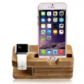 Blimark® Smartphone [Apple/Android] / Apple Watch Dual Stand,iWatch Bamboo Wood Charging Stand Bracket Docking Station Stock Cradle Holder,Fits All iPhone Models and Both 38mm and 42mm Sizes of 2015 Watch Models Comfortable viewing angle easy use quick connection