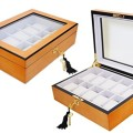 Natura-Bam Elegant Oak Wood Watch Display Case Box with Lock and Key for Watches and Jewelry, 10 Compartment