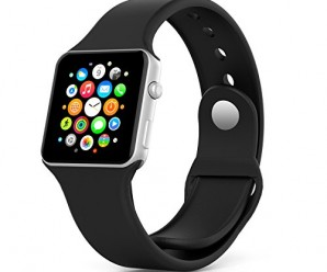 Apple Watch Band, MoKo Soft Silicone Replacement Sport Band for 38mm Apple Watch Models, BLACK (3 Pieces of Bands Included for 2 Lengths, 2 TPU Protective Cases Attached, Not Fit 42mm version 2015)