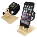 Orzly® – DuoStand Charge Station for Apple Watch & iPhone – Aluminum Desk Stand Cradle in GOLD with Built-In Insert Slots for both Grommet Wireless Charger and Lightning Cable for use as a fully functional Charging Station / Dock for both your Apple Watch & iPhone Simultaneously – Fits iPhone Models: 5 / 5S / 5C / 6 / 6 PLUS and both 42mm & 38mm sizes of 2015 Watch Models (Original BASIC Model / SPORT Version / and EDITION Models)