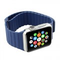 Apple Watch Band Replacement; Wearlizer Genuine Leather Loop with Magnetic Closure for the 2015 Release of the New Apple Watch Color Blue 42mm