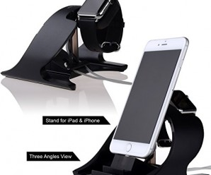 Apple Watch Stand and iPhone 6 Stand,Thankscase Rotating Stand for the Apple Watch, iPhone 6 , iPad Air and iPad mini by Aluminium,Apple Watch Rotating Stand,Apple Watch Dock,Apple Watch Station and iPhone Stand.(Black)
