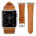 Apple Watch Band,JS Genuine Leather Strap Wristband With Free Adapters for Apple Watch/ Sport/ Edition 42mm- iWatch Replacement Band with Metal Clasp in Brown, JS-AW4-06A20