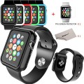 Apple Watch Case, Apple Watch Case Bundle Includes 5 Interchangeable Green/Blue/Black/White/Red Colors Silicon Gel Cases For Apple Watch 38 mm By SGM (TM) + SGM (TM) Microfiber Cleaning Cloth (For 38 MM Apple Watch Only)