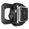Apple Watch Case 42mm, LUVVITT [Ultra Armor] High Performance Fluoroelastomer Flexible Rubber Case for Apple Watch All Editions 42 mm – Black