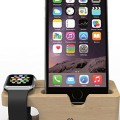 Apple Watch Stand : Stalion® Desktop Charging Dock Station for Apple Watch & iPhone 6s/6s Plus (24-Month Warranty)(Bamboo Wood) Universal Cradle Dock Holder for iWatch & iPhone 6s & 6s Plus