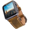 Apple Watch Band, 42mm Iwatch Strap, Premium Vintage Crazy Horse Leather Replacement Watchband with Secure Metal Clasp, Classic Buckle Leather Strap Wrist Band for Apple Watch (Brown)