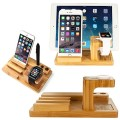 Apple Watch Stand,NewRice® [Charging Dock] Bamboo Wood iPad & iPhone Stand, for Apple Watch & iPhone Fits iPhone Models: 5 / 5S / 5C / 6 / 6 plus/ iPad 2/3/4 and 42mm & 38mm sizes of 2015 Watch Models