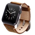 Apple Watch Band, 42mm Vintage Genuine Leather iWatch band strap Replacement Wristband with Metal Adapter Clasp Buckle for All Apple Watch Sport Brown