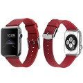 Apple Watch Band, J&D 42mm Genuine Leather Strap Wrist Band Replacement w/ Metal Clasp Adapter for Apple Watch All Models 42mm (Normal Size – Leather Red)