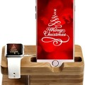 Apple Watch Stand, Bamboo Wood New Edition Waterproof Night Accessories Charging Station Stand Cradle Holder for Iphone and Iwatch 38 Mm and 42 Mm By Tophot 2 in 1 Tablet Organizer Christmas Gift