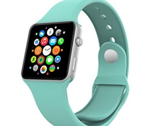 Apple Watch Band, MoKo Soft Silicone Replacement Sport Band for 38mm Apple Watch Models, Mint GREEN (3 Pieces of Bands Included for 2 Lengths, Not Fit 42mm version 2015)