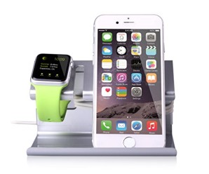 BENTOBEN Apple Watch Stand, Charging Stand for Apple Watch Portable Stand for iPhone 6/6S -Silver