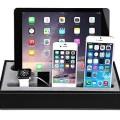 Konsait KS070 Black Leatherette 4-in-1 Apple Watch, Iphone, iPad Charging Station