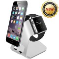 Amir 3307333 2-in-1 Charging Aluminum Stand Holder for All Apple Watches and iPhones – Silver / Black