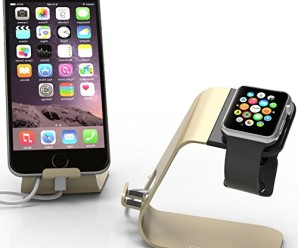 Apple Watch Stand & iPhone 6 Dock: Stalion® 2in1 Desktop Charging Station (Powder Gold) Aluminum Body Universal Cradle Holder for Apple Watch Sport Edition & iPhone 6 6s Plus