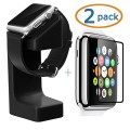Apple Watch Stand, Acatim Apple Watch Holder Silicone Charging Mount Cradle for iWatch +2-Pack Acatim Apple Watch Tempered Glass Screen Protector (42mm)