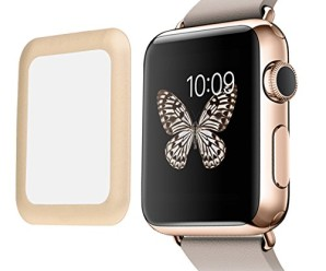 Lepet Link Dream Tempered Glass Protector Full Screen Coverage Anti-bubble Ultra Hd Shield Film with Full Cover Metal Edge for Apple Watch 42mm (Gold)