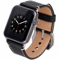 Apple Watch Band, Penom 38mm Premium Genuine Leather Strap Wrist Band Replacement Metal Clasp [With Adapter] for Apple iWatch Sport Edition 38mm Black