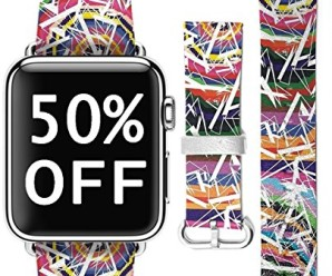 iWatch Strap 38mm Women, UKASE Genuine Leather Wrist Band Replacement for Apple Watch All Models 38mm – Retro Aztec Pattern