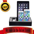 Apple Watch Stand & Iphone Ipad Charging Station Multiple,iphone Ipad Charging Dock,smartphone Desk Charging Station,wowo Black Leather Apple Watch Charging Stand Cradle Holder