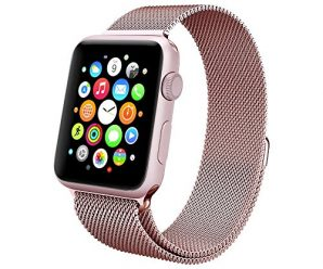 Apple Watch Band , Swees® 38mm Milanese Loop Stainless Steel Bracelet Strap Replacement Wrist iWatch Band for Apple Watch 38mm , with Unique Strong Magnet Lock [ No Buckle Needed ] , Rose Gold