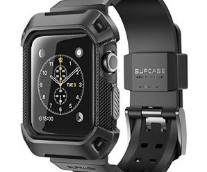 Apple Watch Case, SUPCASE [Unicorn Beetle Pro] Rugged Protective Case with Strap Bands for Apple Watch / Watch Sport / Watch Edition 2015 [38 mm Not Compatible with 42 mm] (Black)