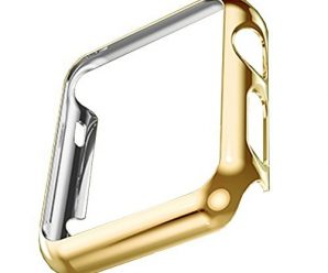 Apple Watch Case, Tomplus [Ultra-Thin] [Newest] Apple Watch PC Plated Cover Case Slim Premium Super / Exact Fit / Plastic Cover Snap On Hard Protective Case for Apple Watch (PC Case Gold 42mm)