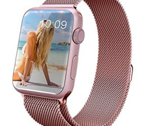 GEOTEL® Apple Watch Band 38mm, Milanese Loop Stainless Steel Bracelet Strap Band for Apple Watch 38mm All Models with Unique Magnet Lock(No Buckle Needed) (Rose Gold)