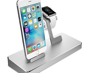 Apple Watch Stand, Maxboost Multi-Charging Station Hub for iPhone 6/6S Plus, iPad, Apple Watch, and more Elegant Dock / Desk Charging Station, Aluminum Apple Charging Stand Cradle Holder [Silver]