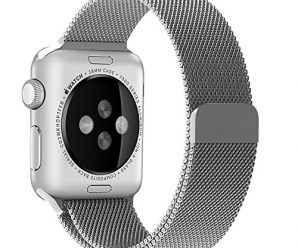 Penom Apple Watch Band, 38mm Mesh Loop with Fully Strong Magnetic Stainless Steel Closure Clasp Milanese Strap for Apple iWatch Sport & Edition – Silver