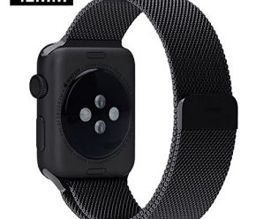 OULUOQI Apple Watch Band Milanese Loop Strap Magnetic Closure Stainless Steel Black 42mm