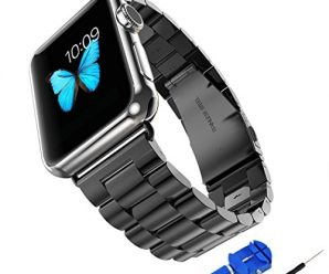 Apple Watch Band, Stainless Steel Bracelet Link Smart Watch Strap with Polishing Shiny Solid Metal Clasp Adapter Connector Buckle for Apple Watch Models 38mm Space Grey