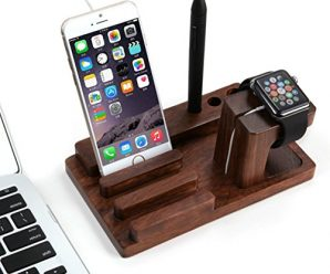 Rosewood Apple Watch Stand Charging Dock Holder from iGearPro Station and Cradle for iPods, iPhones, iPads and Other Phones and Tablets