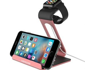 Apple Watch Stand,Mercase iWatch Bamboo Aluminum TPU Charging Stand Bracket Docking Station Stock Cradle Holder Apple Watch 38mm 42mm iPhone 6S 6 plus 5S 5 and more Smartphone (Rose Gold)
