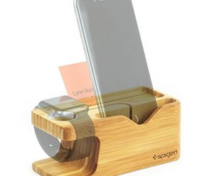 Apple watch stand, Spigen® Apple watch wood stand 2 in 1 bamboo charging docking station for iphone 6s 6 SE 5s 5 plus apple watch / apple watch 2 / 38mm 42mm (000ST20295)